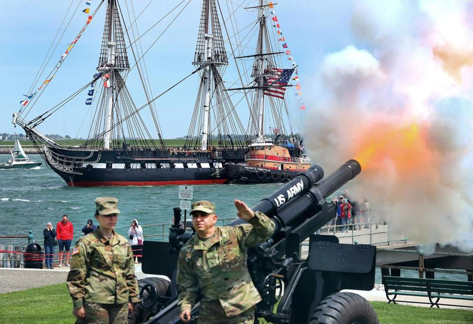 The Constitution fired a 21-gun salute from the ship, and the 101st Field Artillery returned with a 19-gun salute.